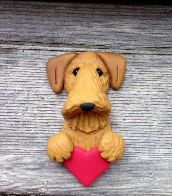Airedale Terrier OOAK Clay Pin