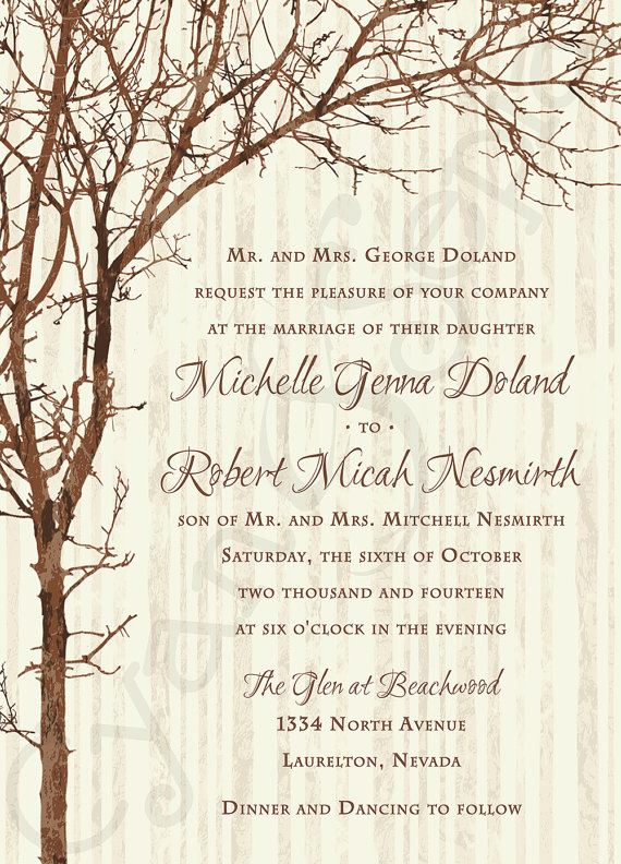 Tree And Branches Printable Customized Wedding Invitation 5x7 Rustic Nature Woodland Twigs Vintage