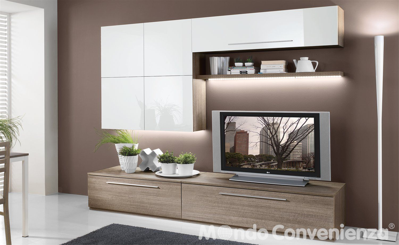 Parete attrezzata per soggiorno, colori bianco panna e nero. Soggiorni Moderno S 274 Mondo Convenienza La Nostra Forza E Il Prezzo Arredamento Mobili Soggiorno Stili Di Casa