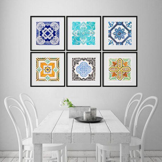 Traditional Spanish Tiles Stickers Poster Art Spanish Art Spanish Heritage Wall Art Pack Of 6 Posters Sku Tstsposter Kitchen Wall Art Tiles Decor