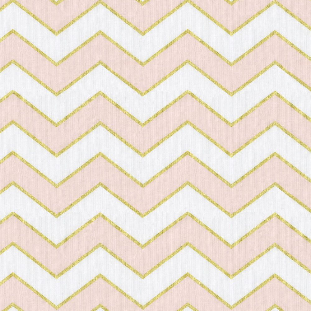 Chevron print fabric by the yard - Pale Pink And Gold Chevron Fabric By The Yard