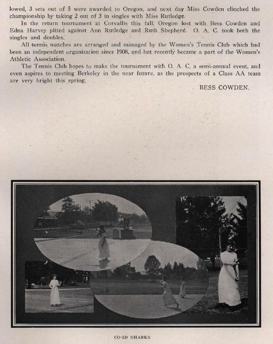1913-14 UO Women's tennis.  From the 1915 Oregana (UO yearbook).  www.CampusAttic.com