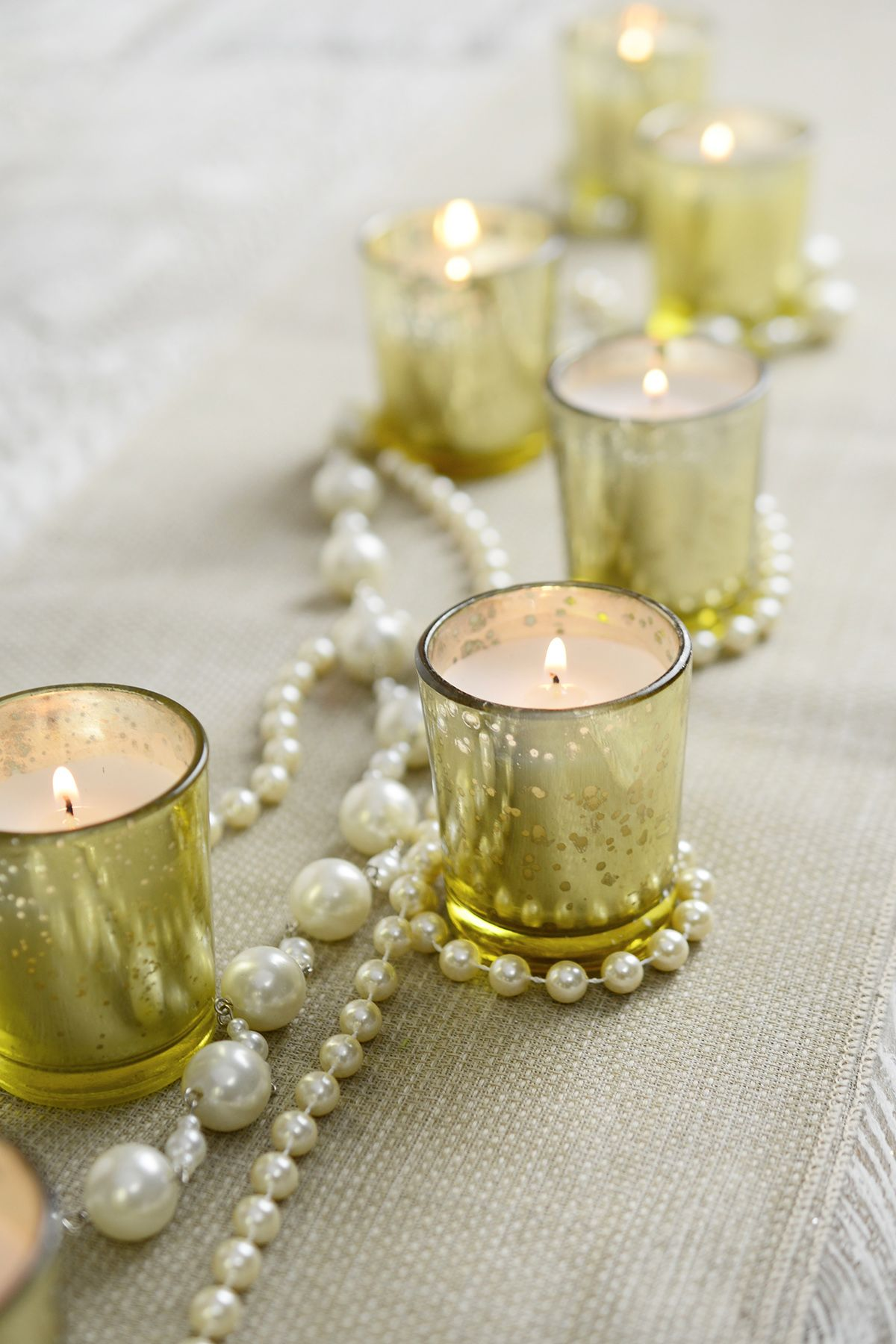 12 Gold Mercury Glass Votive Holders and 12 White Unscented Candles ...