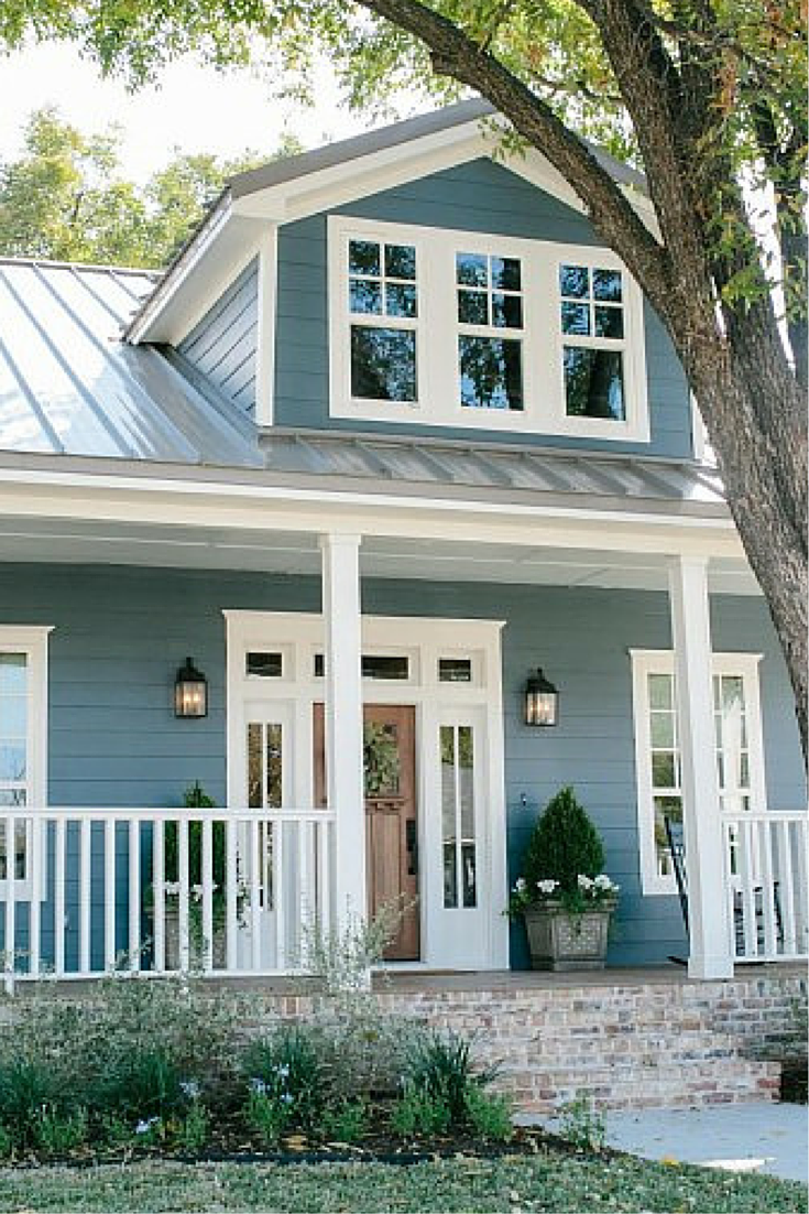 New blue siding and front porch home decor pinterest for Building exterior colour