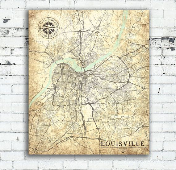 Louisville Kentucky Vintage map Vintage Antique map Kentucky wall