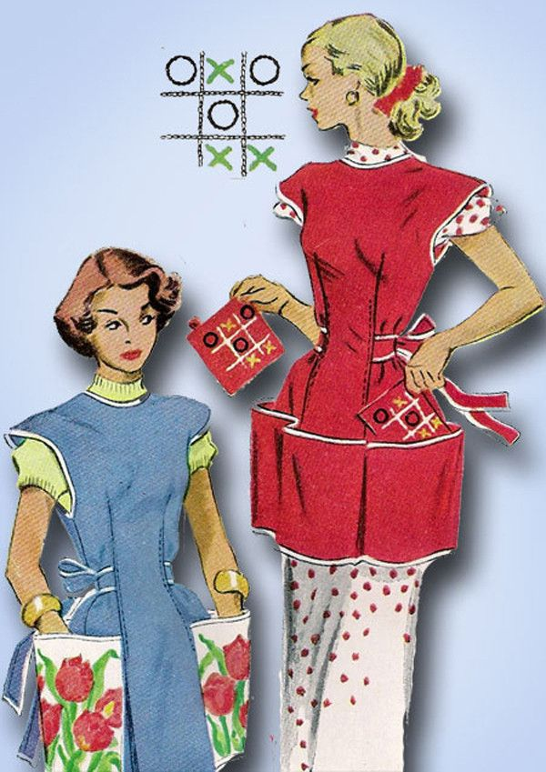 1950s Vintage McCalls Sewing Pattern 1713 Misses Tic Tac Toe Apron ...