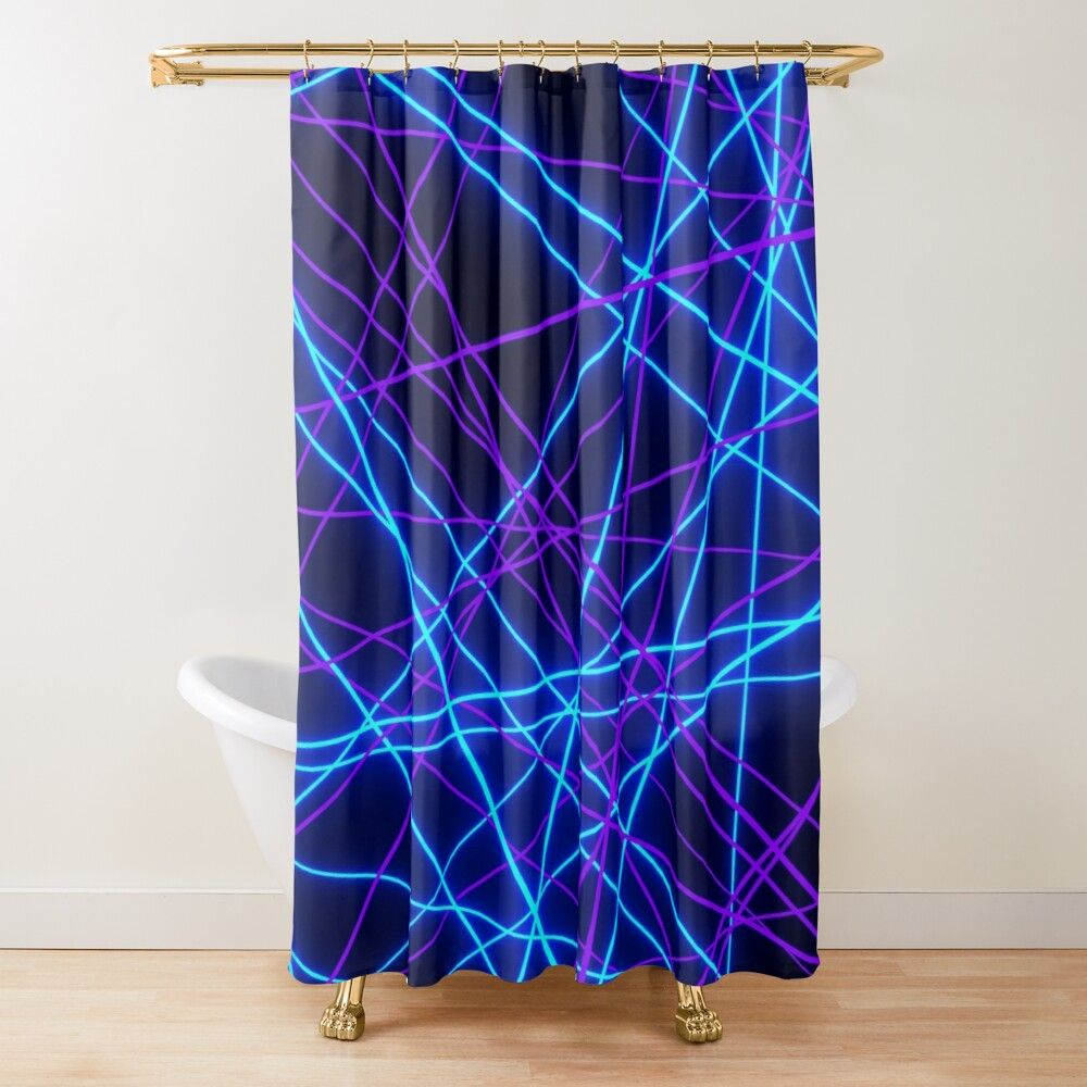 Neon Abstract Line Blue And Purple Black Shower Curtain By