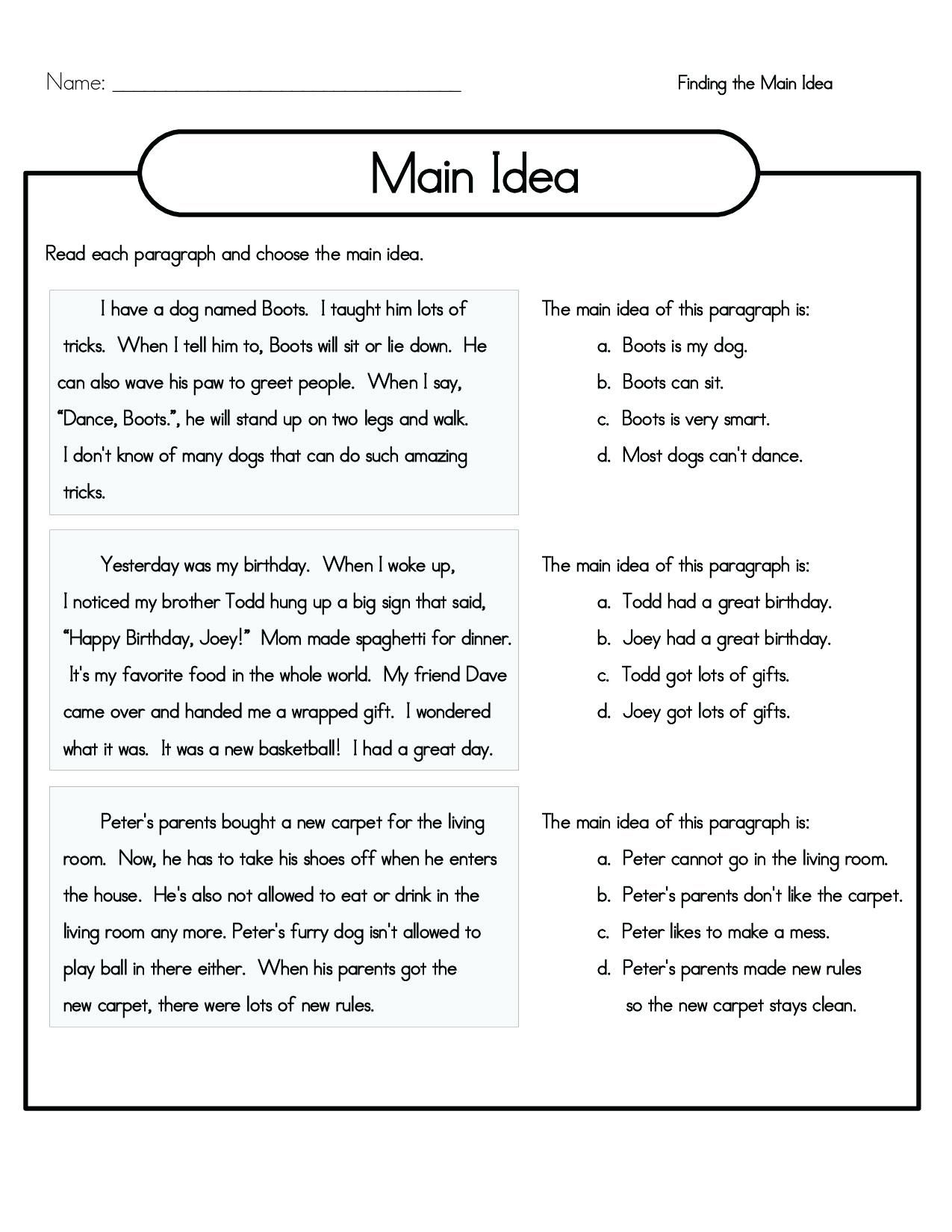 4th Grade Reading Comprehension Worksheets Best Coloring Pages For Kids In 2020 Main Idea Worksheet Reading Comprehension Worksheets Main Idea Lessons