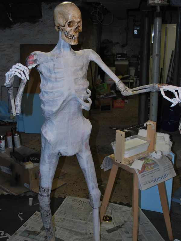 Paper Mache Halloween Props The Gravedigger, nearing completion of