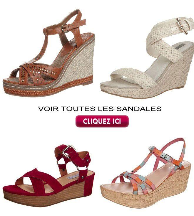 Sandale marron ou blanche haut talon compensé ou compensé bas sur plateforme en liège ou corde, sélection pointure 42.