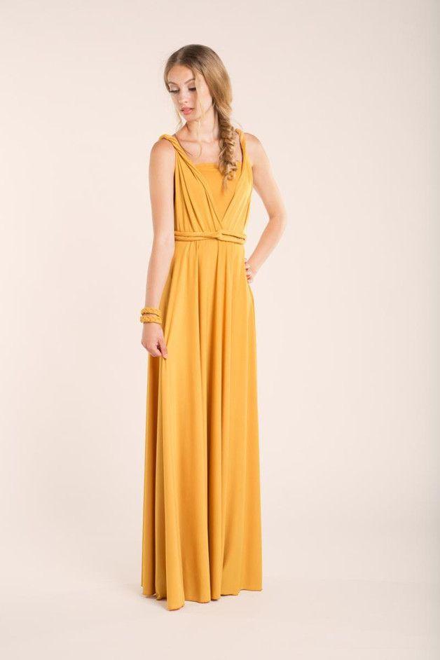 Mustard Partei-Kleid, Backless Cocktailkleid, B | Yellow dress ...