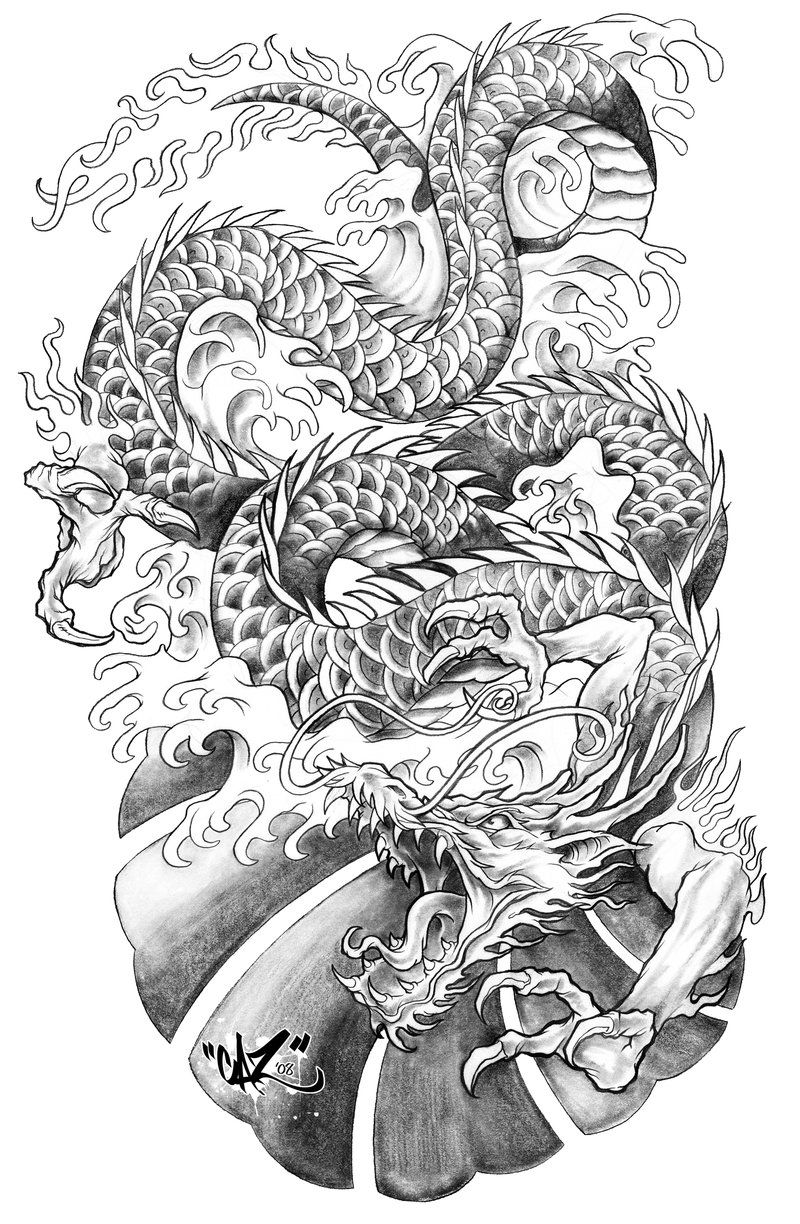 Dragon Tattoo Sleeve Outline Google Search Dragon Tattoo Tattoos Japanese Dragon Tattoos