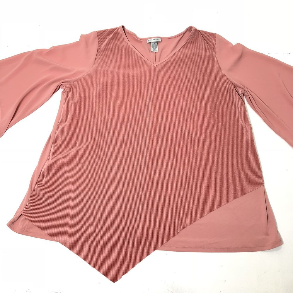 Womens Plus Size 1x 1820 Catherines Blush Pink Textured Stretch