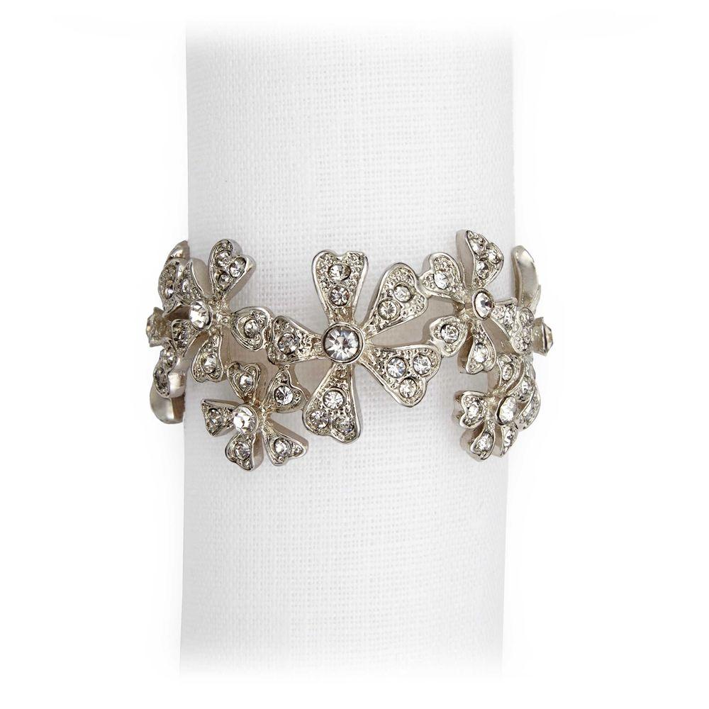 L'Objet Platinum Garland Napkin Rings Swarovski Crystal Set - NJ7000