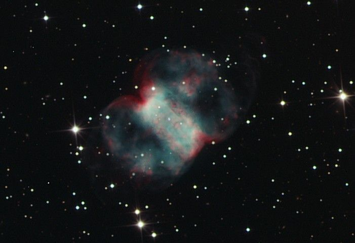 """Messier 76 - the description for the 76th object in Charles Messier's 18th century Catalog of Nebulae and Star Clusters begins """"Nebula at the right foot of Andromeda ... """""""