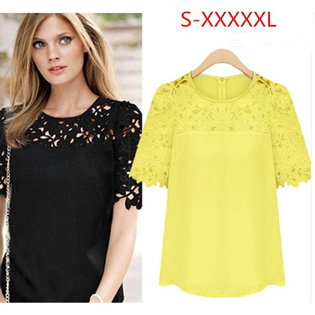 S-5XL Hot Sale New 2014 Fashion Summer Short Sleeve Hollow Women Chiffon Blouse Fashion Lace Shirts