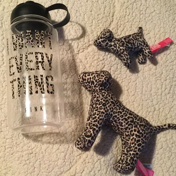 "PINK Cheetah Water Bottle & Dogs Water bottle, mini mini, & regular cheetah dogs.  ""I want everything "" bottle with cheetah letters. Dogs are new with tags, water bottle I never used but it's been in my closet for a loooong time. Taking highest offer made through offer button :) PINK Victoria's Secret Accessories"