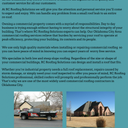 Rc Roofing Solutions Inc Is A Locally Owned And Operated Roofing Contractor Serving All The Oklahoma City Metro We S Oklahoma City Commercial Roofing Roofing