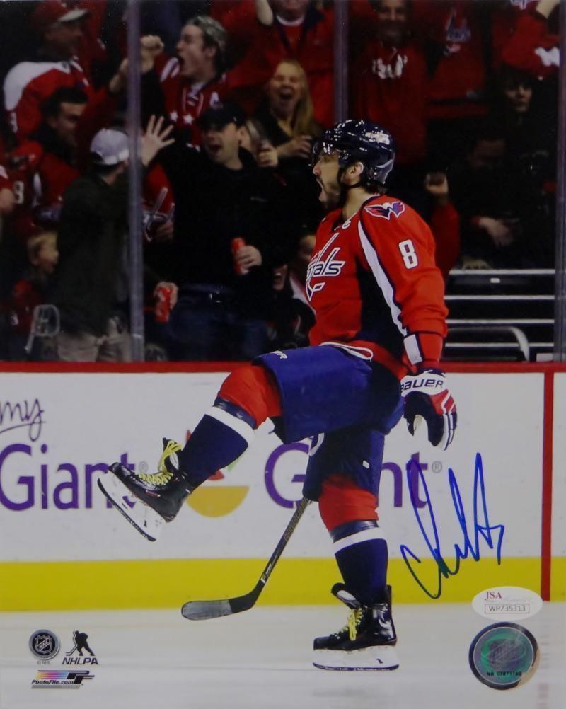 8423411b74e Alex Ovechkin Signed 8x10 Washington Capitals Celebrating Red Jersey Photo-  JSA