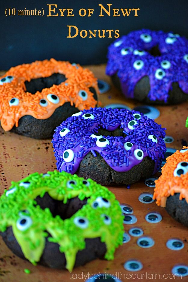 """Okay so you have to admit, these 10 Minute Eye of Newt Donuts are """"looking"""" pretty awesome. I'm sure you don't mind eating something that is """"watching"""" you."""