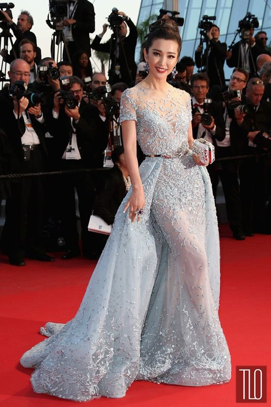 """Li Bingbing at the premiere of """"The Sea Of Trees"""" during the 2015 Cannes Film Festival in a Zuhair Murad couture gown."""