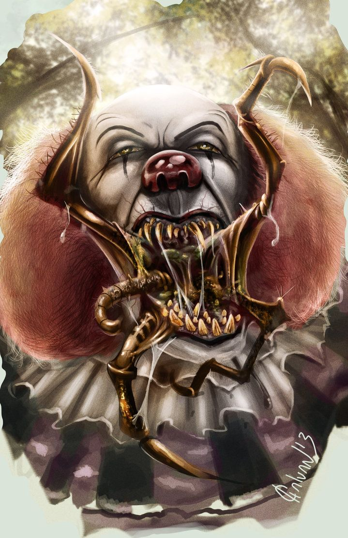 pennywise true form book description  Digital drawing of the clown Pennywise from the book IT by ...