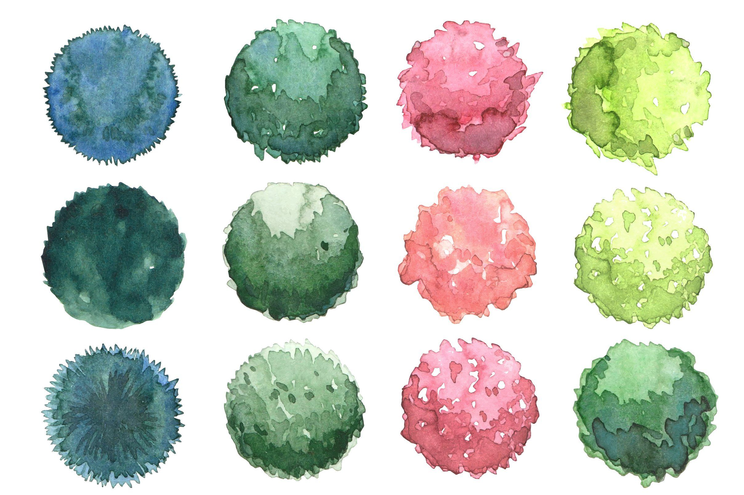 Watercolor Trees Set Top View Watercolor Trees Landscape Sketch Trees Top View