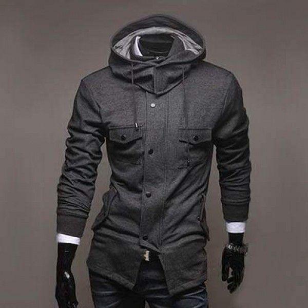 Sweat a capuche Hoodie Veste Men Fashion Gilet Blouson Outwear Homme Gris 1b1c048e3ae0