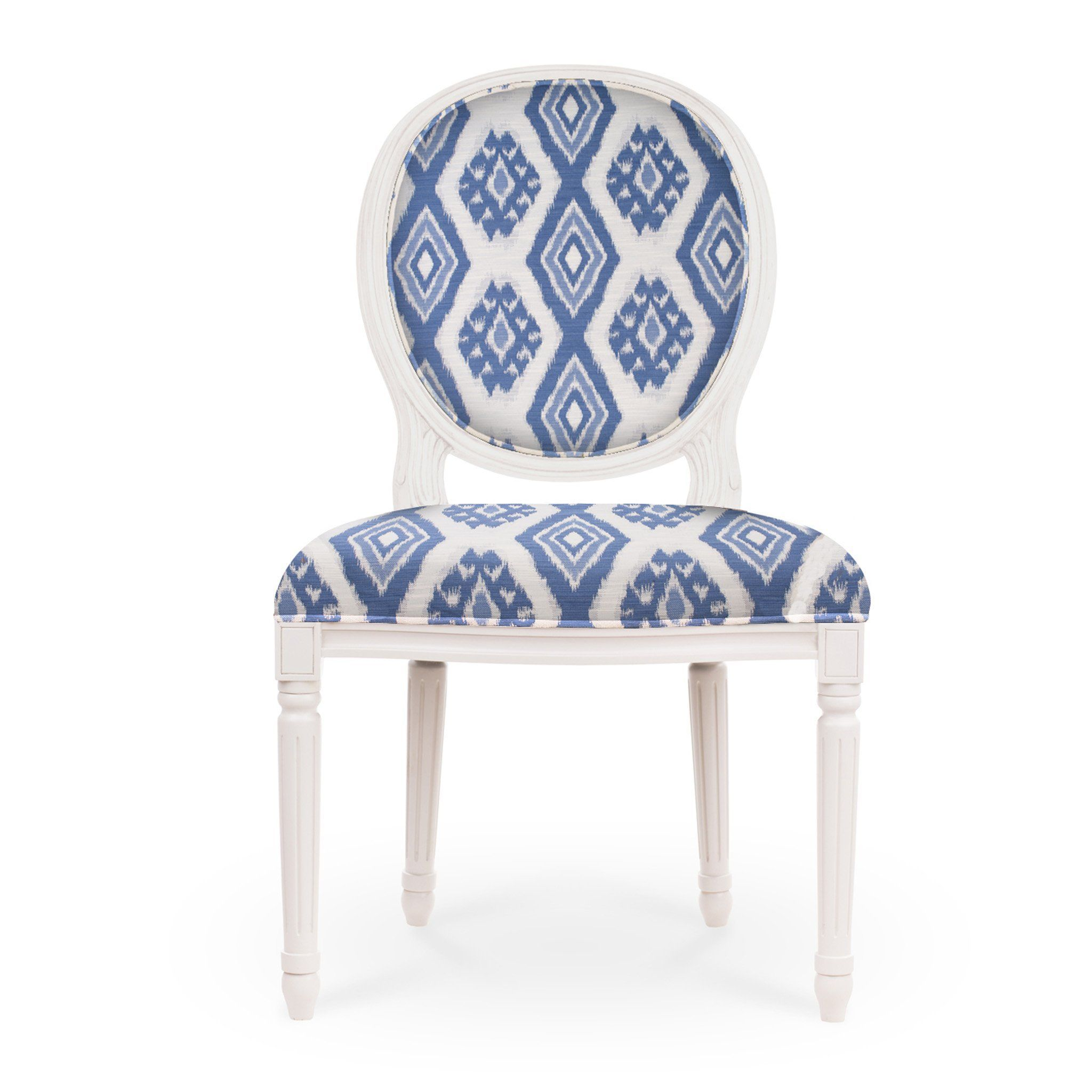 Regine louis xvi side chair white finish blue woven ikat fabric