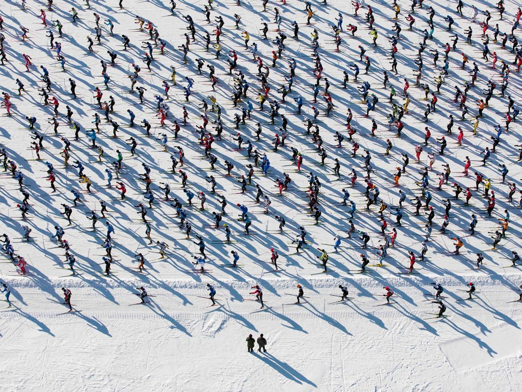 Engadin cross country skiing marathon, Switzerland