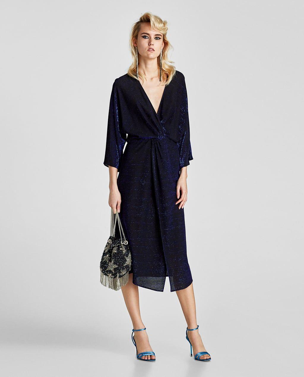 eb8472d2e30 ZARA - WOMAN - SHIMMERY V-NECK DRESS