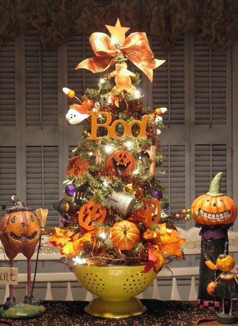 but we wont be on halloween night halloween kitchenwindow tree in yellow colander by denise