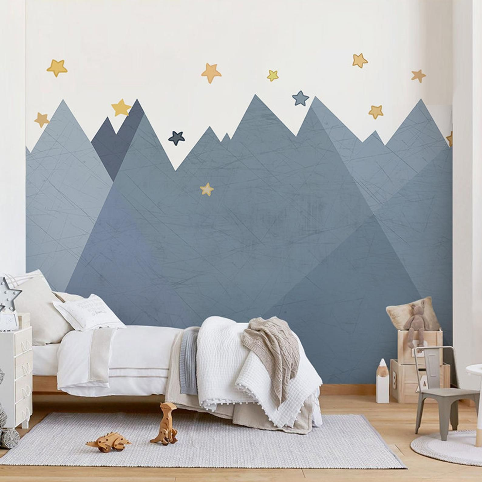 Ombre Mountains Mural Wallpaper Geometry Mountain