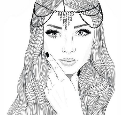 girl, outline, and drawing image | black and white line