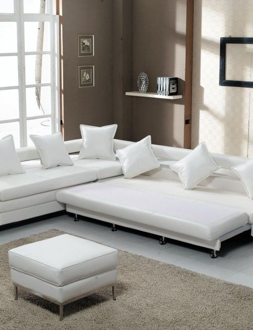 White leather contemporary sectional sofa sleeper with an ...