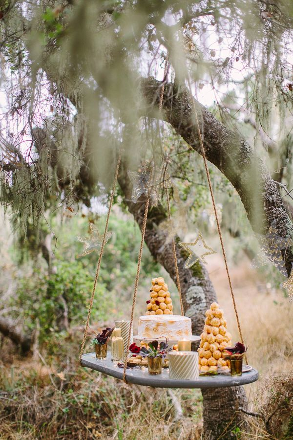 suspended dessert table, photo by Danielle Poff http://ruffledblog.com/bohemian-winter-glam-inspiration #desserttable #weddingideas