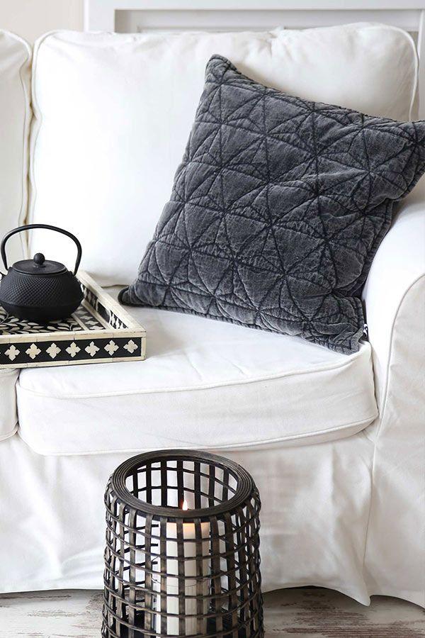 Kuschelweiches Baumwollsamt Kissen im Washed oder Shabby Look