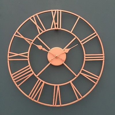 Rose Gold Copper Colour Metal Skeleton Wall Clock Roman