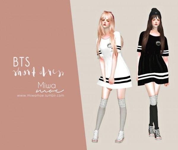 Miwamoe: BTS Short Dress • Sims 4 Downloads | Sims 4 CC