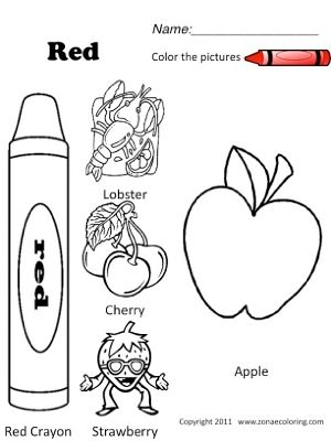 Red Objects Jpg Spanish Colors Color Worksheets