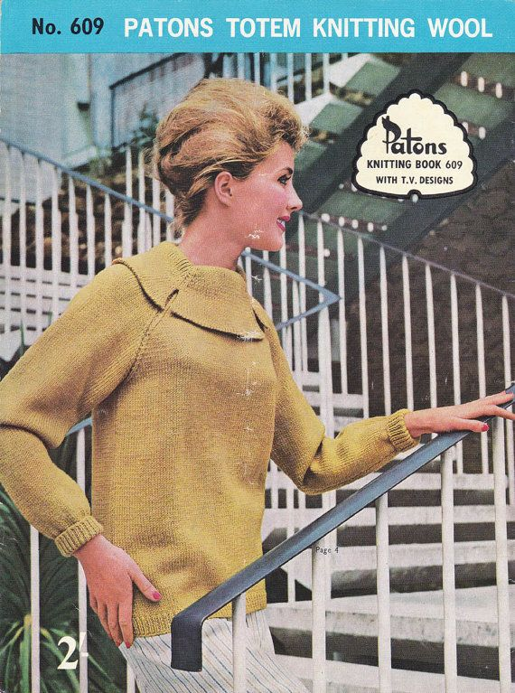 60s Vintage Knitting Patterns Booklet Mod Styles Patons 609 From