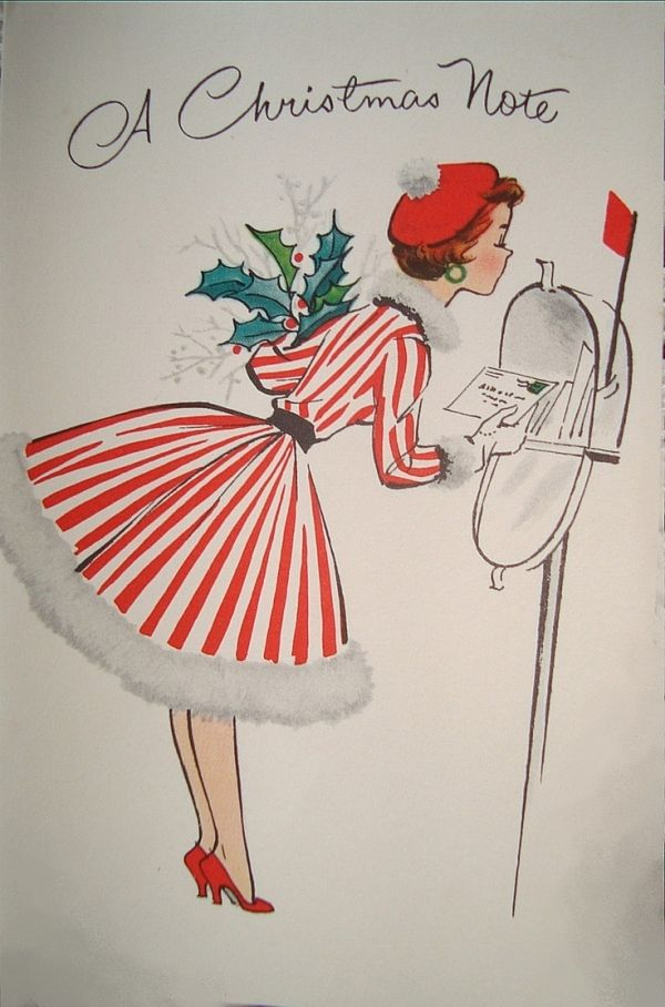 It Christmas Merr Christmas.She S Sending A Christmas Note By Merr Vintage Holiday
