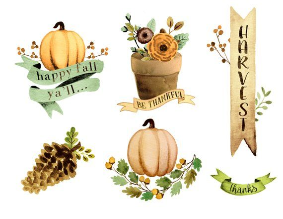 Thanksgiving fall. Watercolor clipart hand painted