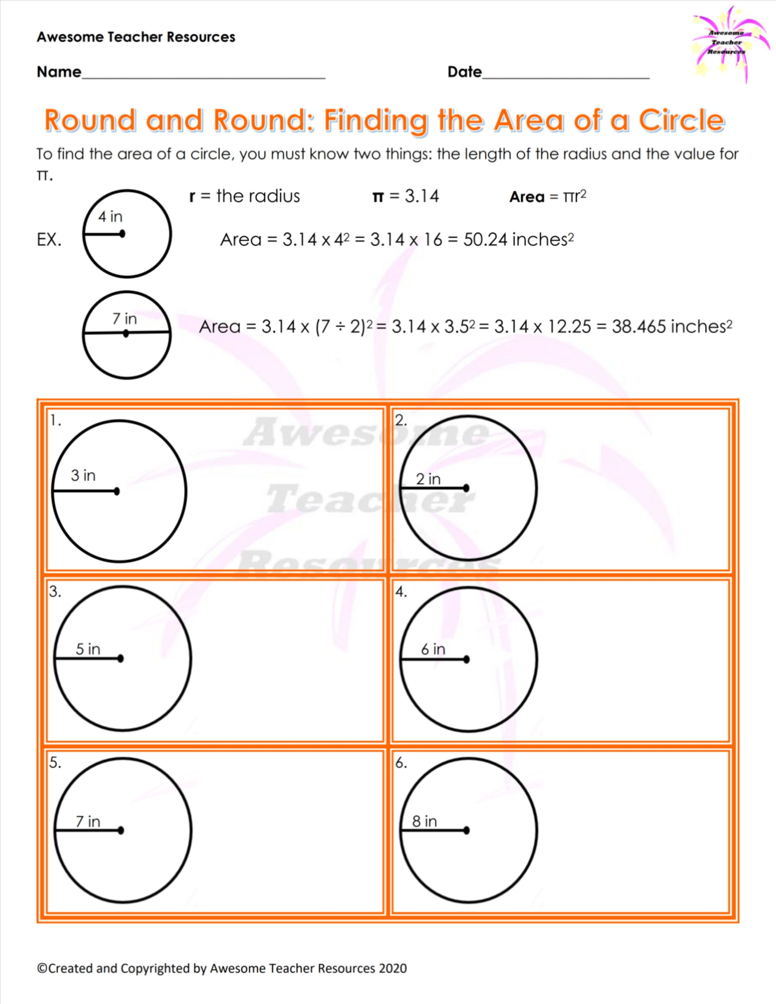 Round And Round Finding The Area Of A Circle Worksheet In