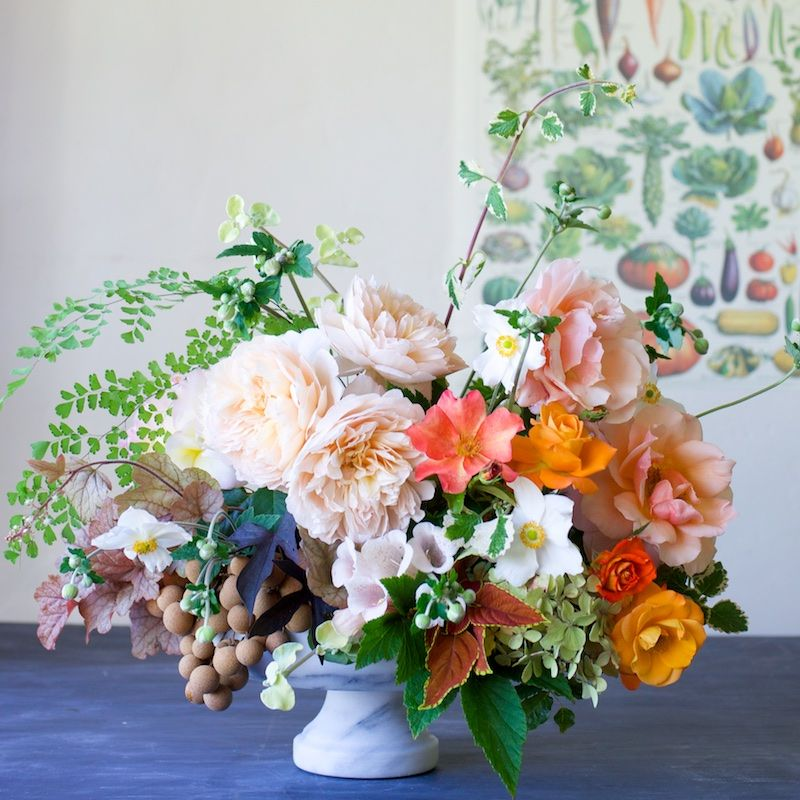 Flowers le jardin lush roses and inspiration Floral arrangements with fruit