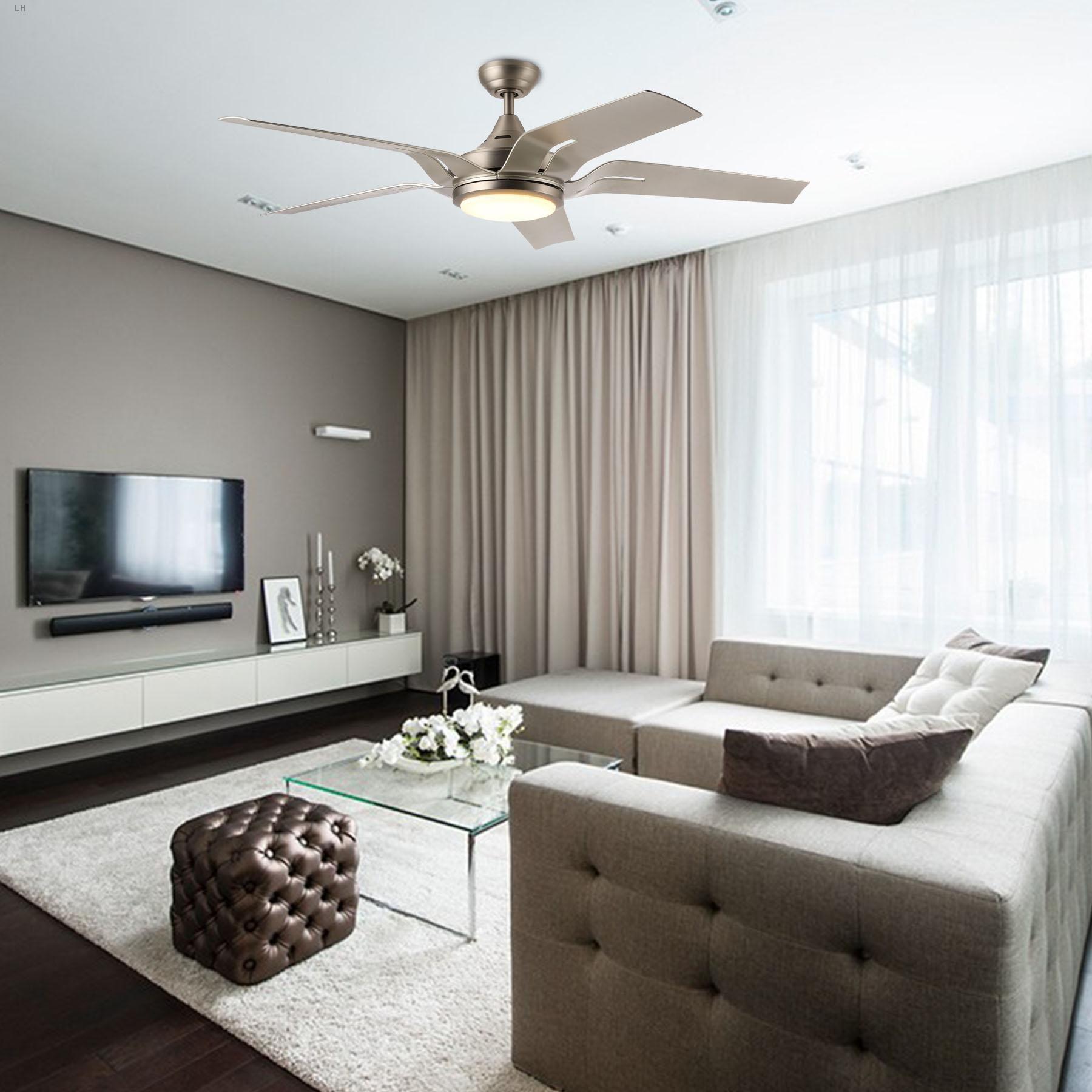 """56"""" Indoor Ceiling Fan Brushed Nickel LED Light Reversible"""