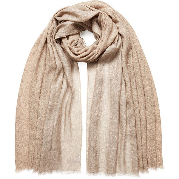 Brunello Cucinelli Silk-Cashmere Scarf (£715) ❤ liked on Polyvore featuring accessories, scarves, beige, fringed shawls, silk shawl, brunello cucinelli scarves, cashmere silk scarves and silk scarves