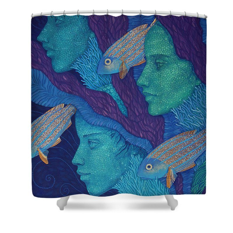 Acrylic Shower Curtain featuring the painting The Waiting by Julia Khoroshikh  #surreal, #fantasy, #surrealism, #art, #mermaid, #underwater, #ocean, #serenity, #painting, #blue, #navy, #coral, #deep, #fish, #girls, #women, #golden, #green, #mermaids, #purple, #seagrass, #sea, #aquatic, #goldenfish, #magic, #fairy, #acrylic, #fantastic, #print, #printed, #artprint