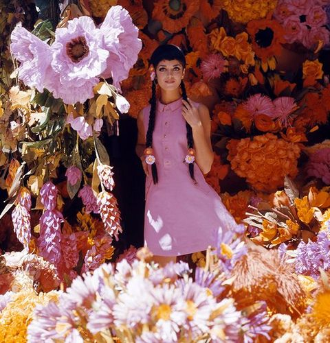 Model is wearing dress by Lux Sport, photo by Elsa Haertter, flower stall in Mexico City, Mexico, ca. 1966 | Flickr - Photo Sharing!