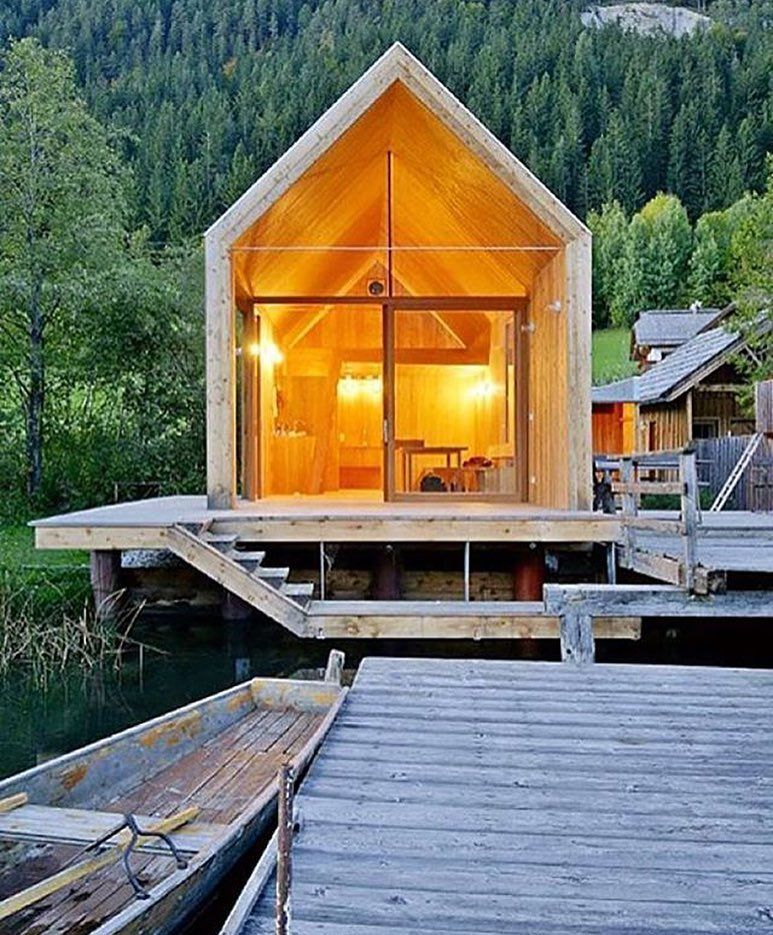 Cottage by the Lake Weissensee in Austria by Architect Peter Jungmann #interiors #interiordesign #architecture #decoration #interior #home #design #photogrid #architect #homedecor #decoration #decor #prefab #smallhomes #instagood #compactliving #fineinteriors #cabin #tagsforlikes #tinyhomes #tinyhouse #like4like #FABprefab #happy #likeforlike #houseboat #chalet #container #containerhouse by bookofcabins